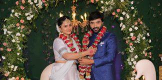 Lyricist Snehan and Kannika Ravi Wedding Reception Stills